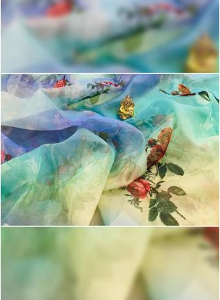 Tremendous Multi-Color Digital Pint Organza Designer Saree