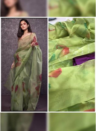 Splendid Pista Green Digital Print Casual Wear Organza Saree