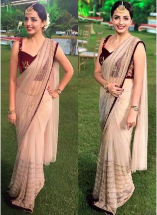 Beige Color Designer Party Wear Fancy Thread Work Saree