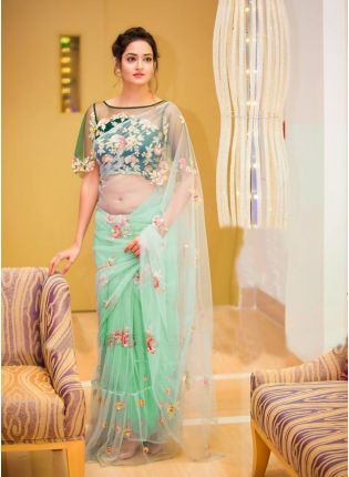 Light Green Color Party Wear Ruffle Border With Sequins Work Saree