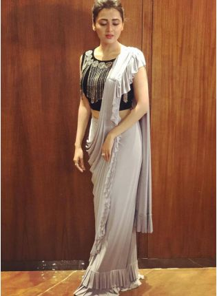 Glamorous Light Grey Georgette Base Party Wear Ruffle Saree