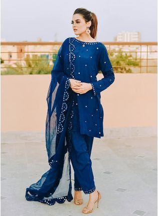 Mesmerizing Royal Blue Georgette Festive Wear Designer Pant Style Suit