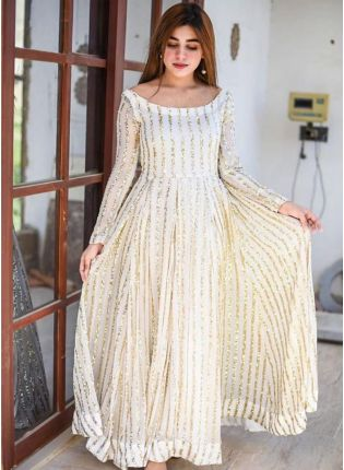 Adorable White Georgette Base Embroidered Anarkali Style Designer Gown