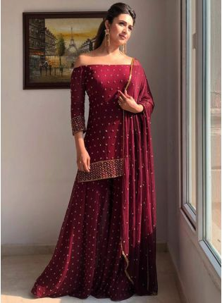 Wonderful Maroon Georgette Base Designer Zari Work Palazzo Salwar Suit
