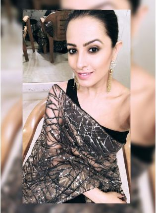 Beautiful and Graceful Black Heavy Net Party Wear Saree