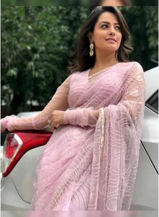 Delightful Baby Pink Designer Party Wear Saree