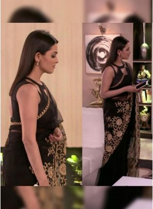Fabulous Carbon Black Soft Net Bollywood Saree With Embroidery