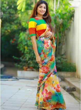 Mind-Blowing Multi Color Designer Printed Saree for Regular Wear