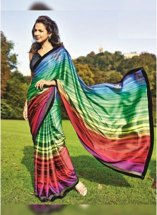 Wonderful Multi-Colored Satin Base Digital Printed Festive Wear Saree