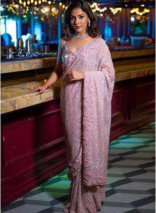 Dashing Light Onion Pink Georgette Party Wear Sequin Work Saree