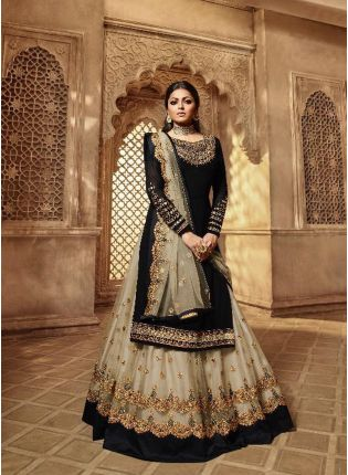 Fabulous Black Color Designer Wedding Wear Salwar Kameez Suit