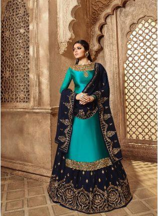 Admirable Peacock Blue Color Designer Wedding Wear Salwar Kameez Suit
