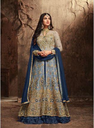 Marvellous Blue Slit Cut Anarkali Suit With Heavy Embroidery