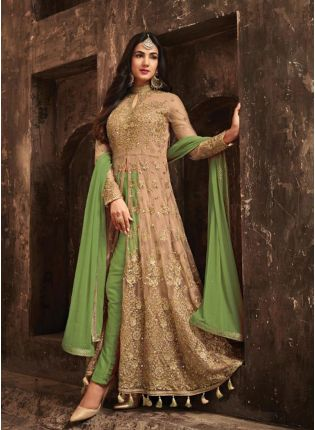 Marvellous Olive GreenSlit Cut Anarkali Suit With Heavy Embroidery