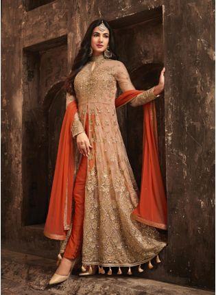Marvellous Orange Color Slit Cut Anarkali Suit With Heavy Embroidery