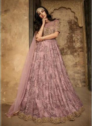 Lavender Color Party Wear Designer Soft Net Base Salwar Kamaeez Suit