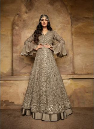 Charming Grey Color Wedding Wear Net Fabric Salwar Kameez Suit