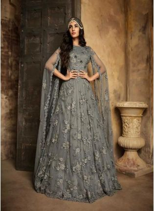 Grey Color Party Wear Designer Soft Net Base Salwar Kameez Suit