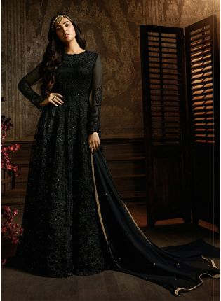 Charming Black Soft Net Festive Wear Designer Sequin Anarkali Suit