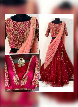 Dark Maroon Color Designer Wedding Wear Pearl Work Lehenga Coli