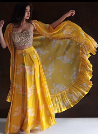 Lemon Yellow Color Georgette Base Party Wear Jacket Style Lehenga Choli