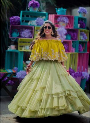 Pastle Green Color Party Wear Ruffle Skirt With Embroidered Mustard Top