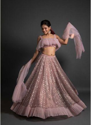 Elegant Onion Pink Color Soft Net Ruffle Lehenga Choli