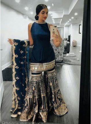 Navy Blue Zari Georgette Sangeet Pakistani Sharara Salwar Suit