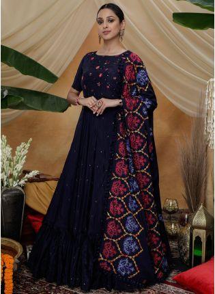 Navy Blue Resham Sequins Work Georgette Silk Anarkali Salwar Suit