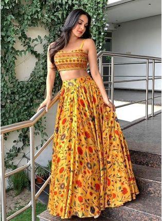 Mustered Yellow Banglori Satin Silk Digital Printed Lehenga Choli