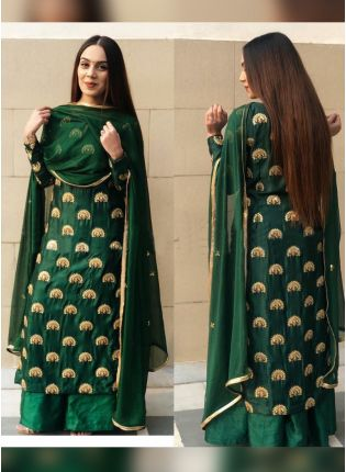 Dark Green Color Wedding Wear Heavy Embroidery Work Palazzo Suit