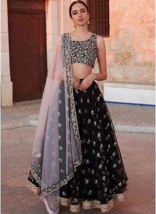 Party Wear Black Color Soft Net Base Designer Lehenga Choli