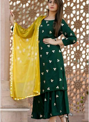 Hunter Green Color Party Wear Designer Palazzo Suit