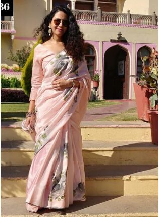 Baby Pink Color Designer Printed Party Wear Saree