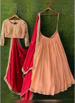 Peach Color Designer Party Wear Tread Embroidery Work Lehenga Choli