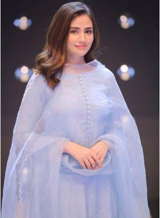 Mind-Blowing Sky Blue Festive Wear Cotton Silk Pant Style Suit