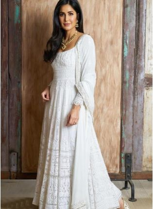 White Color Party Wear Designer Heavy Thread Work Salwar Kameez Suit