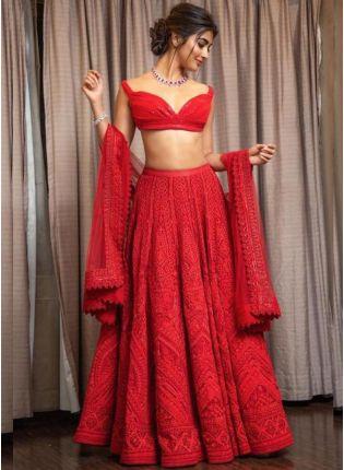 Rose Red Color Party Wear Designer Georgette Base Lehenga Choli