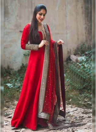 Glossy Red Color Party Wear Georgette Base Embroidered Anarkali Suit