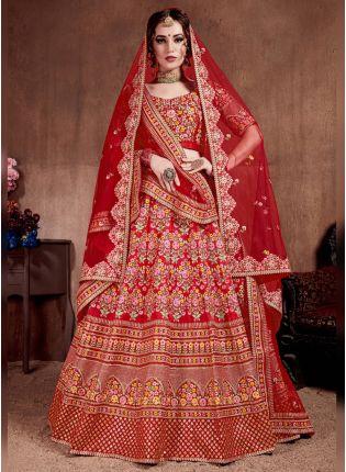 Splendid Red Colored Silk Bridal Designer Embroidered Lehenga Choli