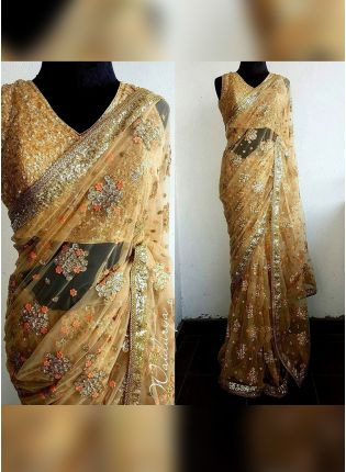 Designer Party Wear Beige Color Net Base Saree