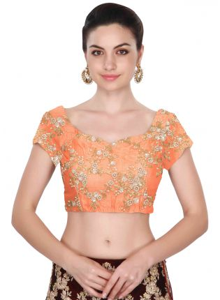 Orange Cape Sleeves Applique Work Blouse