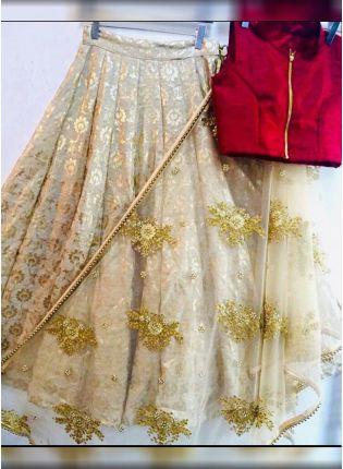 Beige Color Party Wear Designer Foil Work Lehenga Choli