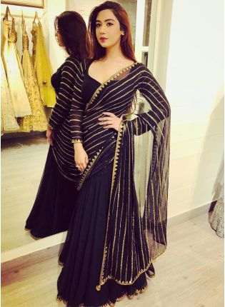 Party Wear Black Color Georgette Base Designer Saree