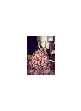 Multi Color Digital Print Tafetta Silk Designer Ceremonial Gown