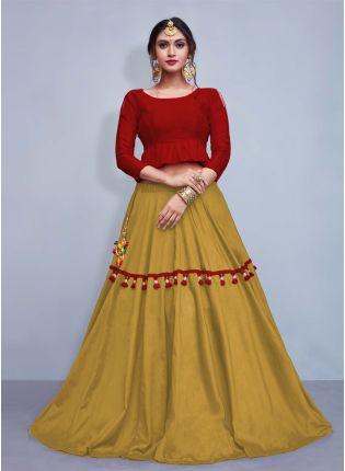 Elegance Maroon Crop Top With Tassels Decorated Beige Skirt