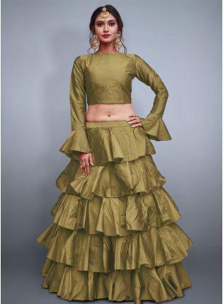 Beige Taffeta Silk Base Ruffle Lehenga Skirt With Crop Top