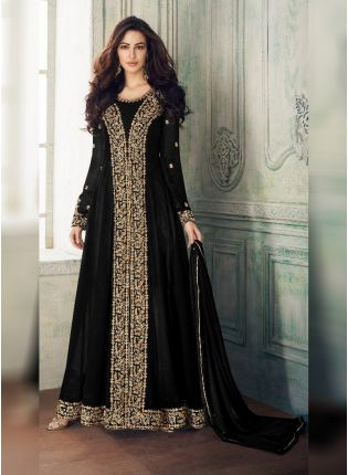 Black Georgette Base Embroidery Stone Work Salwar Kameez