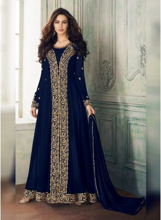 Blue Georgette Base Heavy Embroidery And Stone Work Salwar Kameez