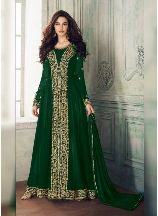Green Georgette Base Heavy Embroidery And Stone Work Salwar Kameez